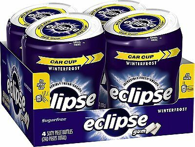 4 pk Wrigley's Eclipse Car Cup Sugar Free Winter Frost Gum-240 pieces-Exp.6/2/17