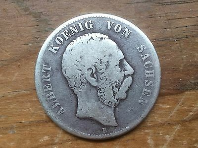 GERMANY/ SAXONY 1875-E 5 MARK ALBERTINE SILVER COIN @ Must See@@