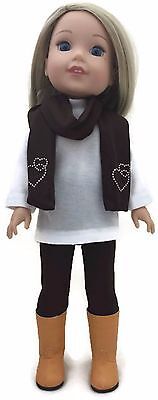 """3 pc Brown Leggings Set fits 14.5"""" American Girl Wellie Wishers Doll Clothes"""