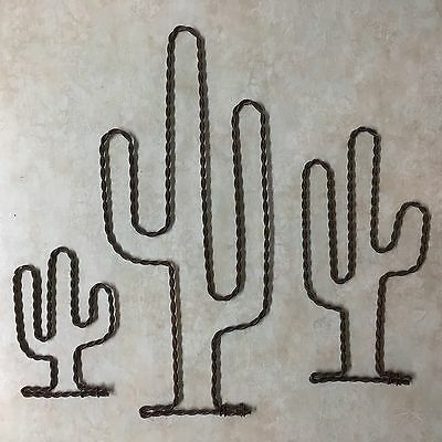 3 Twisted Rusty Wire Art Cactus South Western Ranch Wall Decor 4 7 11 Inch Set