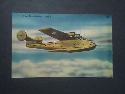 WWII U.S. Navy Patrol Bomber XPB2Y-1 Linen Postcard Aircraft Aviation