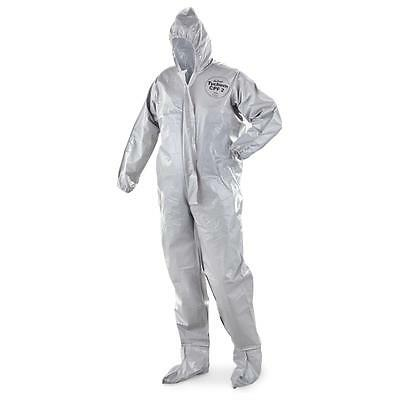 Gray Dupont CPF2 Tychem Hazmat Suit with Hood & Boot Covers CPF-2 Size Medium