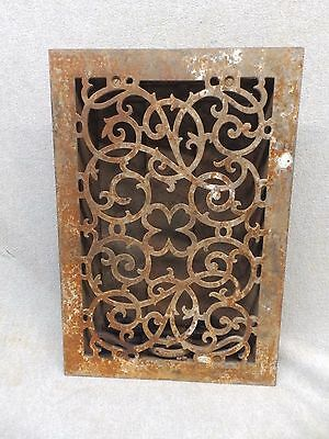 Antique Victorian Cast Iron Heat Grate Vent Register Decorative 14x9 340-17P