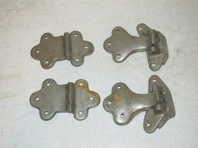 Antique Lot of 2 Sets of Ice Box Door Nickle Hardware Hinges VFC Bronze Brass
