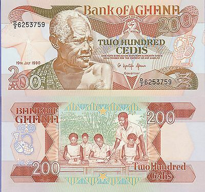 "Ghana 200 Cedis Banknote 20.4.1989 Choice Uncirculated Cond, Cat#27-B""Old Man"""