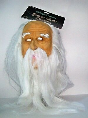 Adult Old Man Wizard Full Latex Mask With White Hair & Beard Costume Sez17619Ay