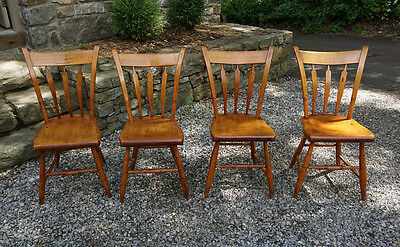 Set 4 antique country New England maple thumb back chairs c1820 kitchen dining