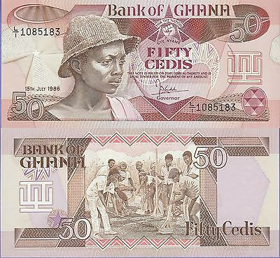 "Ghana 50 Cedis Banknote 15.7.1986 Choice Uncirculated Condit,Cat#25,""Young Man"""