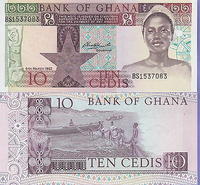 "Ghana 10 Cedis Banknote 8.3.1982 Choice Uncirculated Cat#25,""Young Woman"""