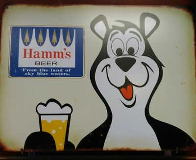 HAMMS BEER BEAR HEAD 18x24 TIN SIGN LAND OF SKY BLUE WATERS MAN CAVE BAR RARE