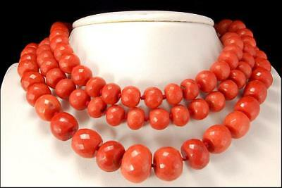 LONG ANTIQUE ITALIAN TOMATO RED CORAL BEADS SILVER NECKLACE 136.1g (071617900)