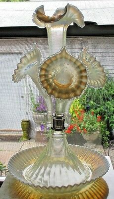 Antique Victorian Opalescent Glass 4 Horn Epergne