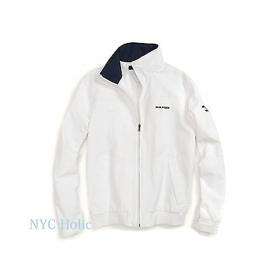 New Tommy Hilfiger Mens Yacht Jacket White Windbreaker All Size Water Resistant