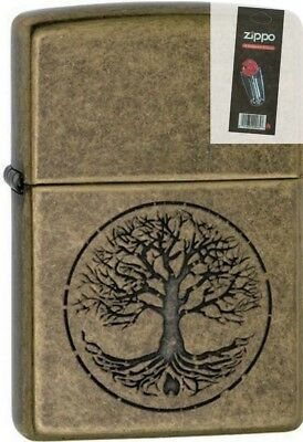 Zippo 29149 tree of life antique brass finish full size Lighter + FLINT PACK