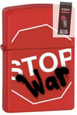 Zippo 28140 stop war red matte RARE & DISCONTINUED Lighter + FLINT PACK
