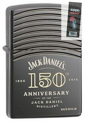 Zippo 29189 Jack Daniels 150th Anniversary Deep Carved Lighter + FLINT PACK