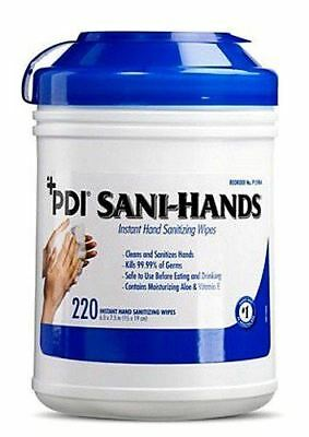 "PDI Sani-Hands Antimicrobial Alcohol Gel Hand Wipes Canister 6""X7.5"" 220 Each /"
