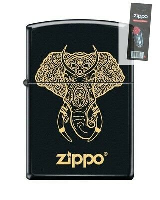 Zippo 0126 Elephant With Tusks Black Matte Finish Full Size Lighter + FLINT PACK