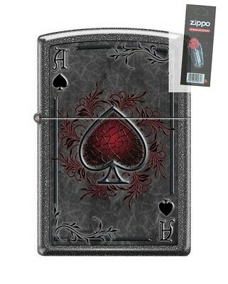 Zippo 0604 Ace of Spades Ironstone Finish Full Size Lighter + FLINT PACK