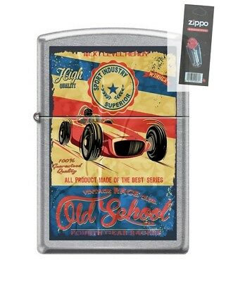 Zippo 207 OLD SCHOOL RACING fourth gear racers vintage Lighter + FLINT PACK