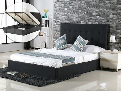 King Queen Double Bed Frame Gas Lift Storage Furniture Charcoal/Grey Fabric New