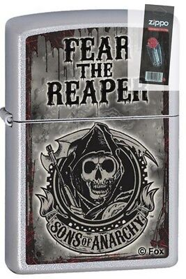 Zippo 28502 sons of anarchy fear the reaper chrome Lighter + FLINT PACK