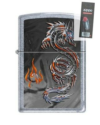 Zippo 3538 Dragon and Flame Street Chrome Finish Lighter + FLINT PACK