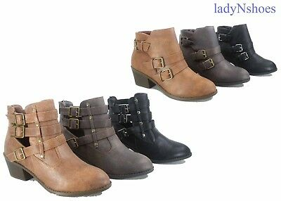 NEW Women's Round Toe Buckles Zipper Low Heel Ankle Booties Shoes Size 6 - 10
