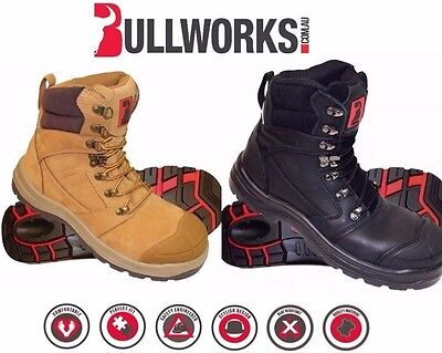 Bullworks KEW Steel Cap Work Safety Boots AU/UK -WHEAT/BLACK *Selling Out Fast*