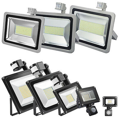 LED Floodlight PIR Motion 10W 20W 30W 50W 100W Security Outdoor Garden Lights