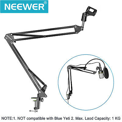 Neewer Black Microphone Suspension Boom Scissor Arm Stand with Pop Filter Kit
