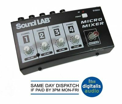 Soundlab 4 Channel Mono DJ Karaoke Microphone Mic Mixer Mains or Battery Powered