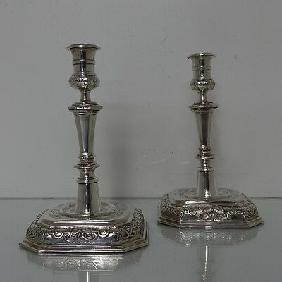 Pair of Early 18th Century Antique German Silver Candlesticks Augsburg 1712-1715