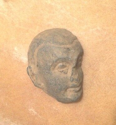 Ancient Gandhara Schist Stone Carved Monk  Head Relief Authentic