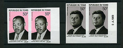 1969 Tchad Air Mail + Gandhi Kennedy King Yvert A 54/59 Imperforated Mnh E348