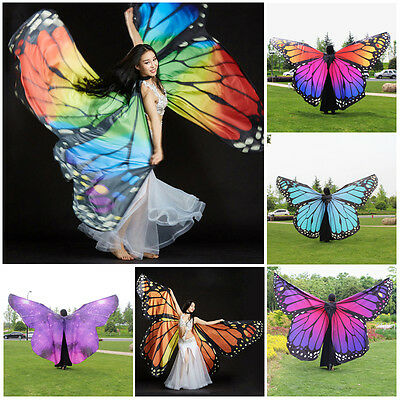 Adults/Kids Lady Colorful Butterfly Belly Dance Costume 360° Wings Perform Dance