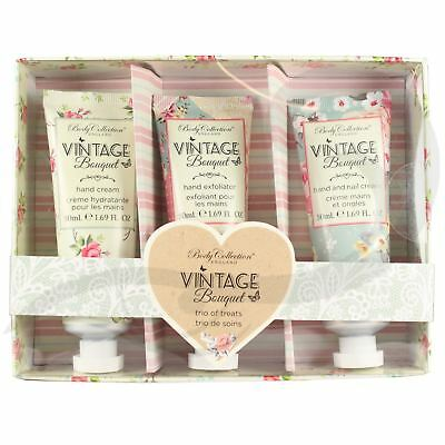 Body Collection Vintage Hand Cream Lotion Moisturising Exfoliator Trio Gift Set