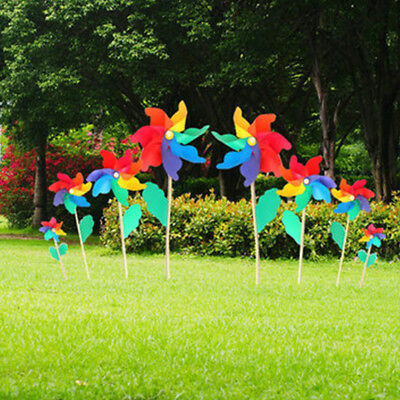 12/18/24/32cm Colorful Windmill Pinwheel Wooden Handle Home Garden Party Decor