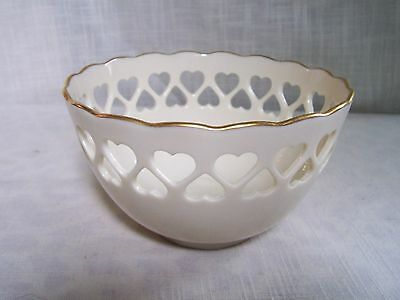 Lenox Ivory Reticulated Heart Bowl Gold Trim