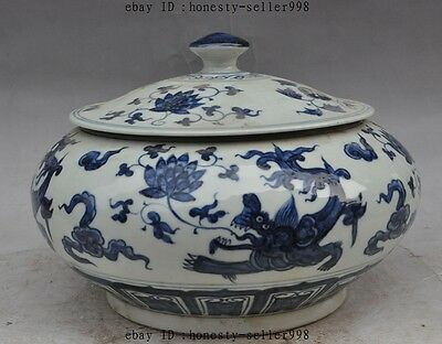 "10""Old Chinese Jingdezhen blue & white Porcelain Dragon Fish lotus pot jar Crock"