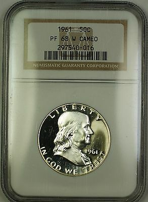 1961 Gem Proof Franklin Silver Half Dollar 50c Coin NGC PF-68 White Cameo