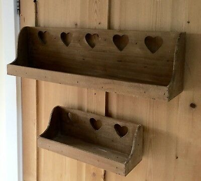Rustic Wall Shelf Heart Cutout Detail Country Kitchen Spice Rack Caddy French