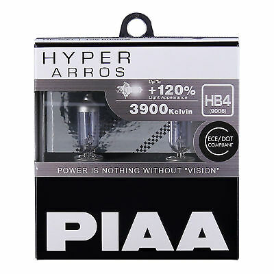 New! HE-910 PIAA HB4 (9006) HYPER ARROS 3900K Uprated Car Bulbs +120% Brighter!