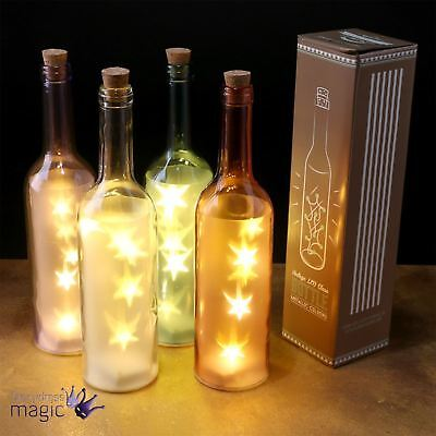 Retro Coloured Decorative Vintage Wine Glass Bottle with LED Star Lights Gift