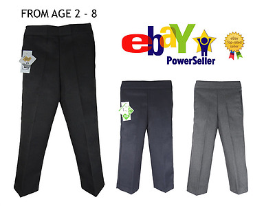 Pull On Boys Pull Up School Trousers Black Grey Navy Elasticated Age 2 - 13