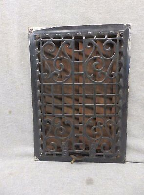 Antique Cast Iron Wall Ceiling Heat Grate Register Vent Old Vtg 12x8  354-17P
