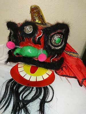 Vintage Chinese New Year Dragon Mask Red Papier Mache Horn Green Eyes tongue tai