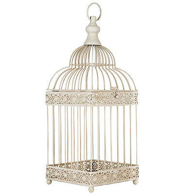 Antique White Metal Bird Cage w/ Two Tiered Dome Secure Latch Closure Finish New