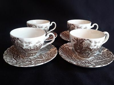 Johnson Brothers Cotswold Brown Set of 4 Cup & Saucer (Imperfect)