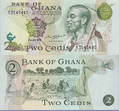 Ghana 2 Cedis Banknote 2.1.1978 Uncirculated Condition Cat#14-C-3440